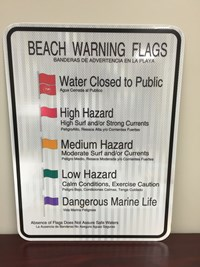 "Beach Warning Flag Sign  18""x24"""