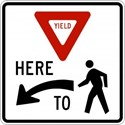 "R1-5L 24""X24"" Yield Here to Pedestrians on Left"
